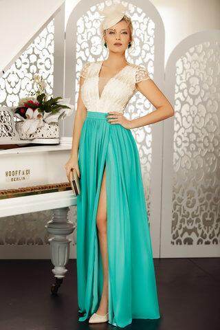 Rochie verde de ocazie de lux lunga in clos